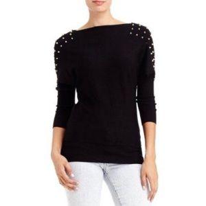 Bebe 2B Studded Spike Shoulder Sweater
